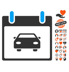 Car calendar day icon with valentine bonus vector