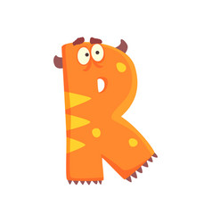 Cartoon character monster letter r vector