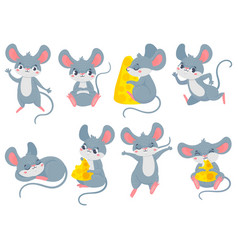 cartoon mouse little cute mouses funny small vector image