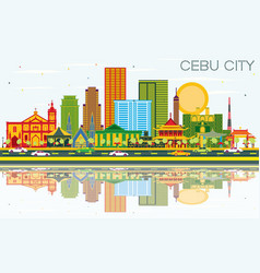Cebu city philippines skyline with color vector