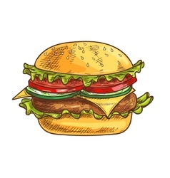 Cheeseburger fast food sketch icon vector