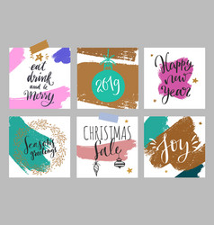 christmas and new year posters and labels vector image