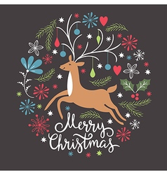Christmas card Christmas deer vector image