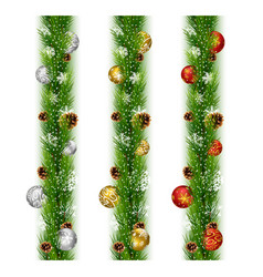 christmas garlands with balls and pine cones vector image