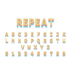 colorful repeat font alphabet in colorful vector image
