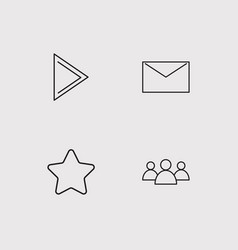 Communication simple linear icons set outlined vector