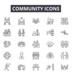 community line icons signs set outline vector image
