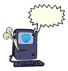 Computer virus cartoon with speech bubble vector