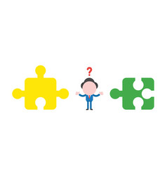 confused businessman with incompatible jigsaw vector image