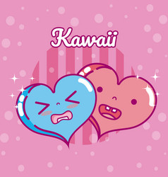 cute hearts kawaii cartoon vector image