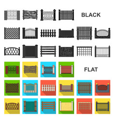 Different fence flat icons in set collection for vector