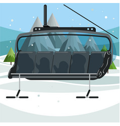 Empty ski chair lift on mountains background vector