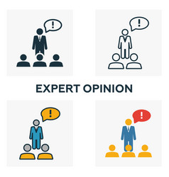 Expert opinion icon set four elements in diferent vector