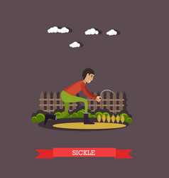Farm worker with sickle in vector