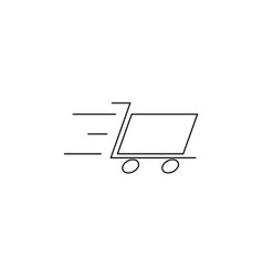 Fast cart line icon vector