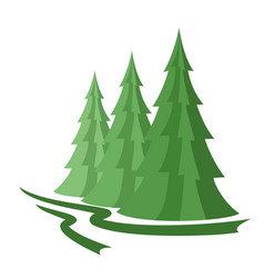 Green wood with pines vector