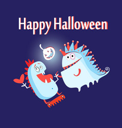 greeting card with monsters vector image