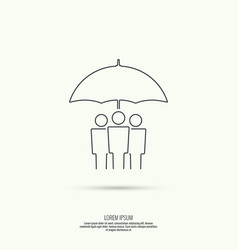 Group of people under protection vector image vector image