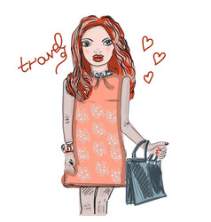 hand drawn beautiful cute red-haired girl in an vector image