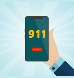 Hand holding smartphone with emergency call 911 on vector