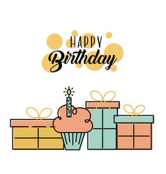 happy birthday cake gift boxes decoration vector image
