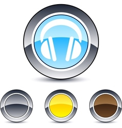 headphones round button vector image