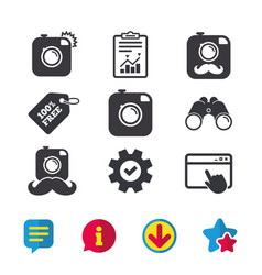 Hipster photo camera with mustache icons vector