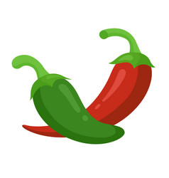 hot green and red pepper set spicy kitchen vector image