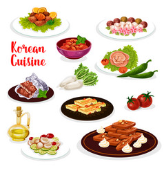 Korean cuisine icon seafood and vegetable dish vector