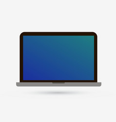 Laptop flat icon pc computer isolated blue screen vector