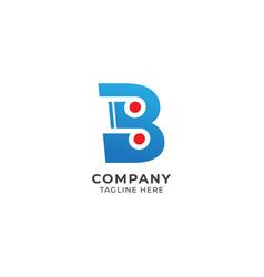 Letter b alphabet music logo design initial vector