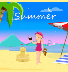 little girl on summer beach evening time vacation vector image