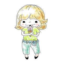Little girl with ice cream vector image