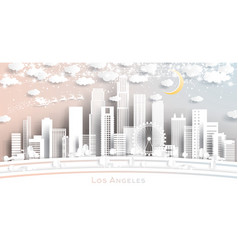 los angeles usa city skyline in paper cut style vector image