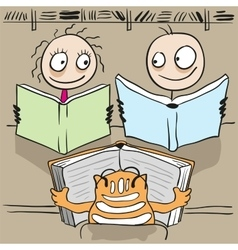 Man woman and cat reading book in library vector image