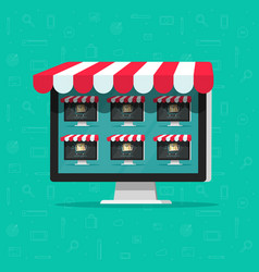 Marketplace online store flat vector