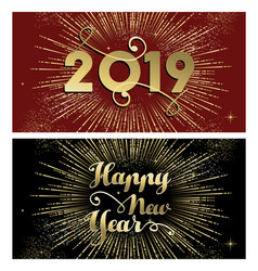 new year 2019 gold firework banner card set vector image