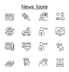 news icons set in thin line style vector image