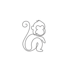 one continuous line drawing cute sitting vector image