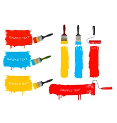 paint brush and roller and banners vector image