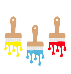 paintbrush icon set blue yellow red color drops vector image