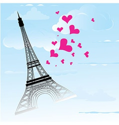 Paris town in France card as symbol love vector image