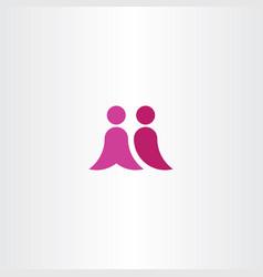 partnership people letter m logo logotype symbol vector image