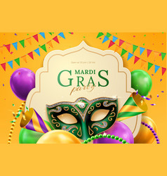 Party hat and masquerade mask at mardi gras banner vector