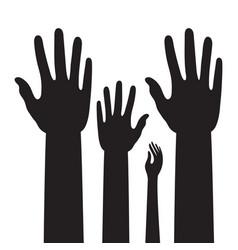 People raised hands student raising hands flat vector