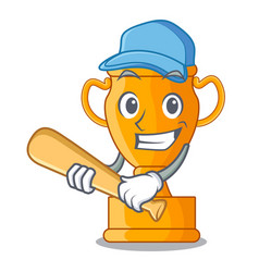 playing baseball character gold trophy award for vector image