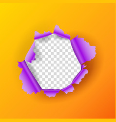 realistic torn orange paper page round hole with vector image