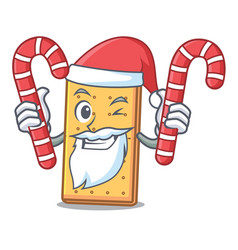 Santa with candy graham cookies mascot cartoon vector