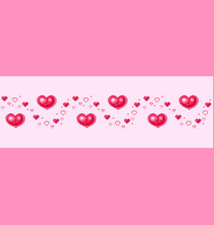 seamless border with hearts in pixel-art style vector image