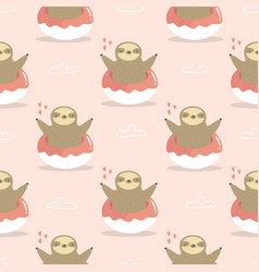 Seamless pattern with cute sloths jumping of vector